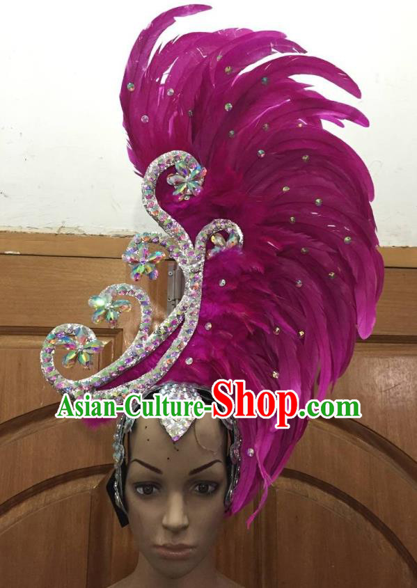 Deluxe Rosy Feather Customized Samba Dance Hair Accessories Brazilian Rio Carnival Headdress for Women