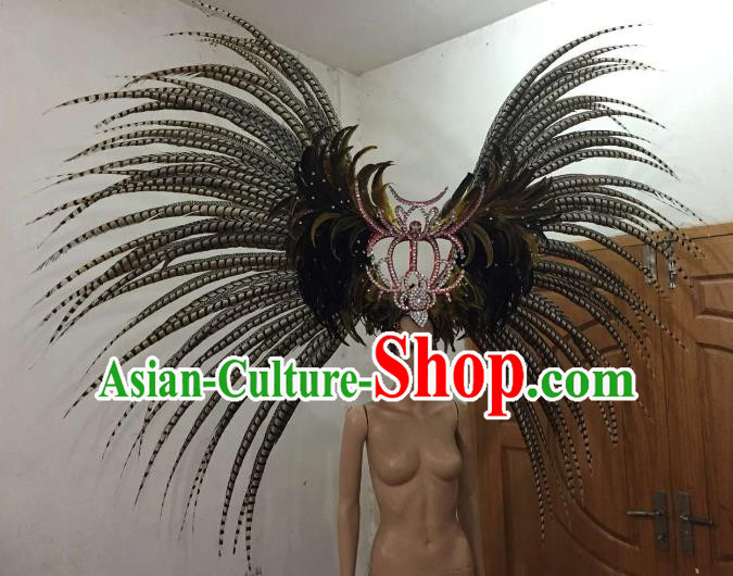 Customized Deluxe Black Feather Samba Dance Hair Accessories Brazilian Rio Carnival Headdress for Women