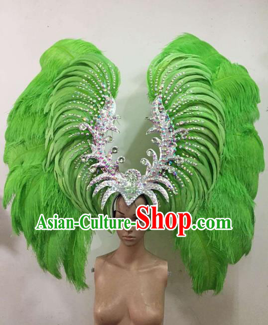Custom-made Samba Dance Deluxe Green Feather Hair Accessories Brazilian Rio Carnival Headdress for Women