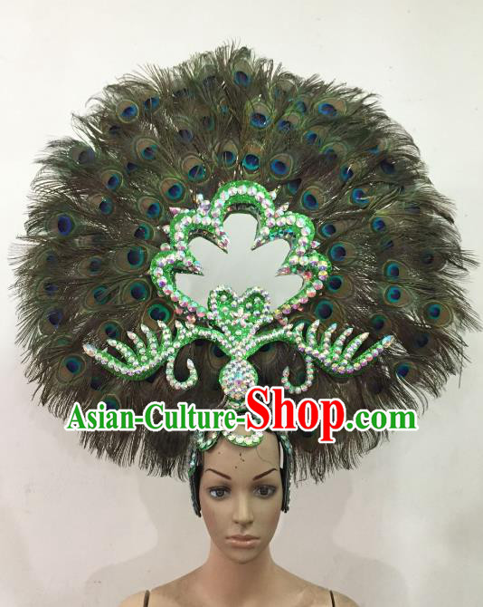 Customized Deluxe Peacock Feather Samba Dance Hair Accessories Brazilian Rio Carnival Headdress for Women