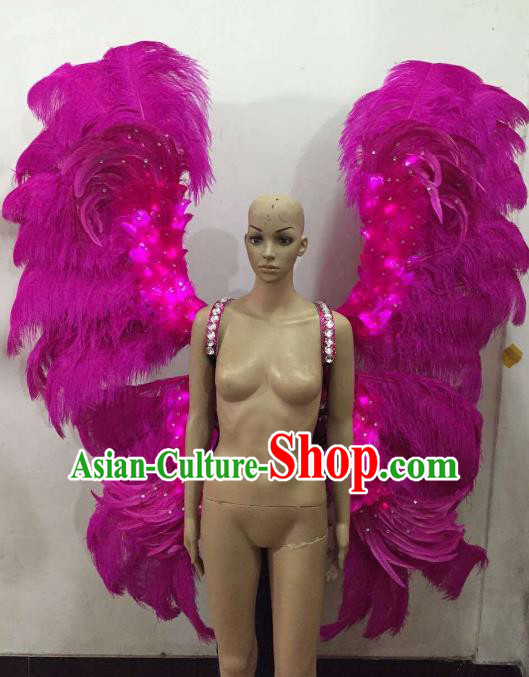 Custom-made Catwalks Props Brazilian Rio Carnival Samba Dance Rosy Feather Deluxe Wings for Women