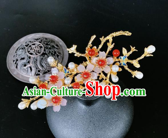 Chinese Traditional Hair Accessories Ancient Hanfu Cherry Blossom Hairpins for Women