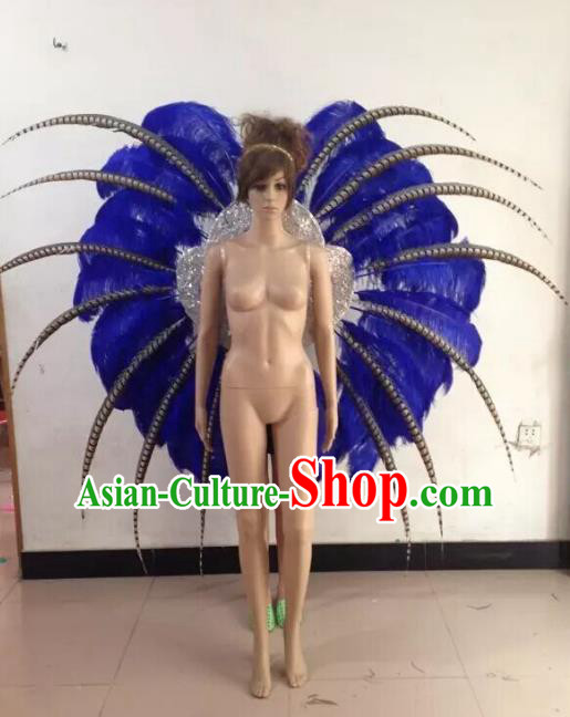 Customized Catwalks Props Brazilian Rio Carnival Samba Dance Royalblue Feather Deluxe Wings for Women