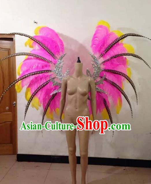 Customized Catwalks Props Brazilian Rio Carnival Samba Dance Pink Feather Deluxe Wings for Women