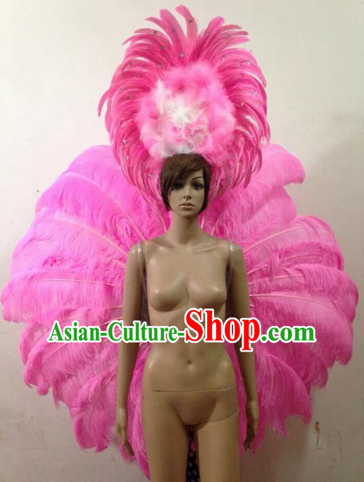 Customized Catwalks Props Brazilian Rio Carnival Samba Dance Pink Feather Deluxe Wings and Headwear for Women