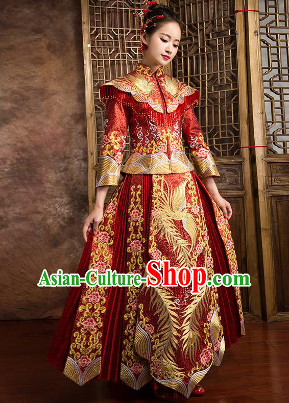 Traditional Chinese Bridal Costumes Ancient Bride Wedding Embroidered Beading XiuHe Suit for Women
