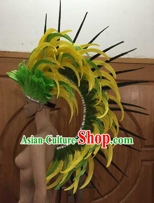 Professional Samba Dance Feather Hair Accessories Halloween Catwalks Brazilian Rio Carnival Roman Warriors Headdress