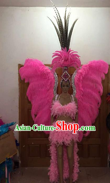 Brazilian Rio Carnival Samba Dance Pink Feather Costumes Catwalks Wings Swimsuit and Headdress for Women