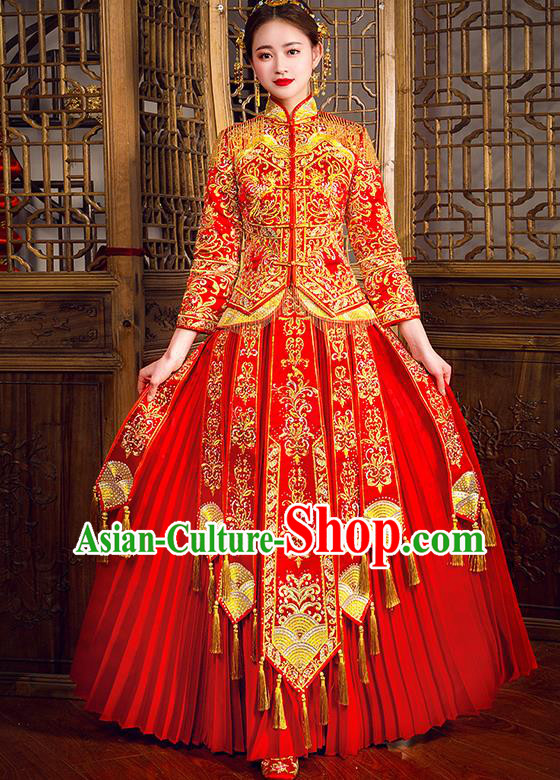 Traditional Chinese Female Wedding Costumes Ancient Embroidered Full Dress Red XiuHe Suit for Bride