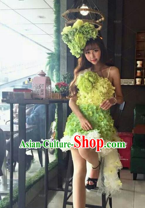 Top Grade Catwalks Costume Halloween Stage Performance Brazilian Carnival Green Flowers Dress for Women