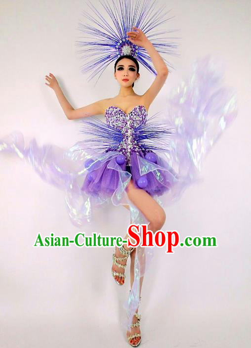 Top Grade Catwalks Costume Halloween Stage Performance Brazilian Carnival Purple Dress for Women