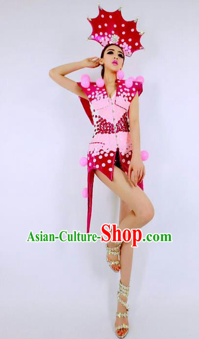 Top Grade Catwalks Red Costume Halloween Stage Performance Brazilian Carnival Clothing for Women