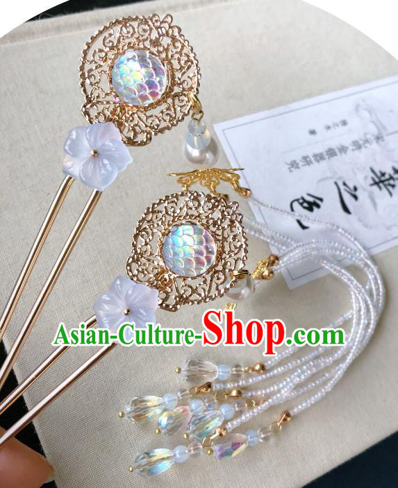 Chinese Traditional Hair Accessories Ancient Hanfu Hairpins Tassel Step Shake for Women