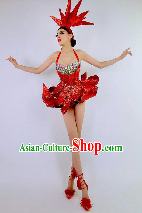 Top Grade Catwalks Costume Red Dress Halloween Stage Performance Brazilian Carnival Clothing for Women