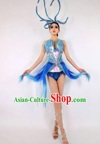 Top Grade Catwalks Costume Blue Dress Halloween Stage Performance Brazilian Carnival Clothing for Women
