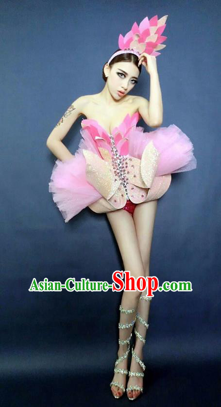Top Grade Catwalks Pink Costume Halloween Stage Performance Brazilian Carnival Clothing for Women