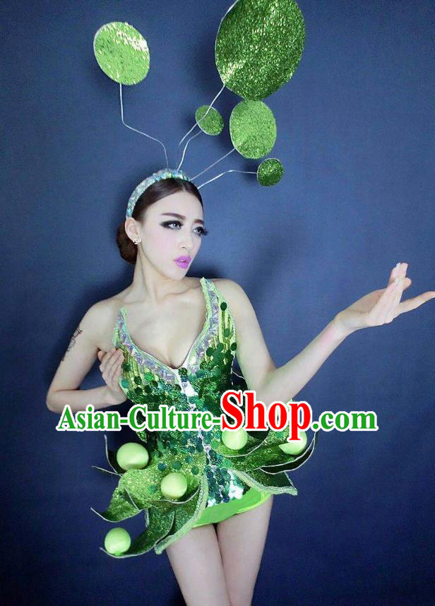 Top Grade Catwalks Green Costume Halloween Stage Performance Brazilian Carnival Clothing for Women