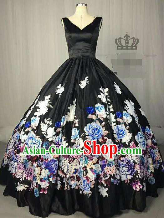Top Grade Chinese Catwalks Costume Stage Performance Printing Flowers Blue Full Dress Brazilian Carnival Clothing for Women