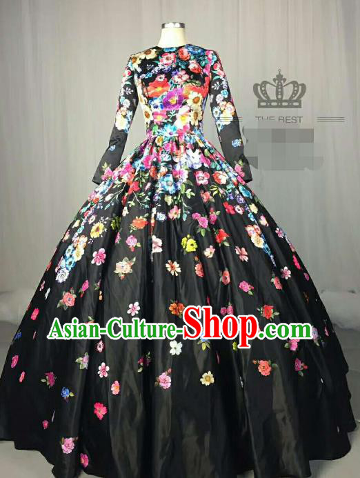 Top Grade Catwalks Costume Stage Performance Printing Flowers Black Full Dress Brazilian Carnival Clothing for Women