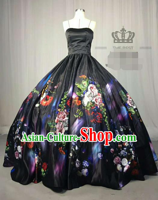 Top Grade Catwalks Printing Flowers Black Full Dress Costume Stage Performance Brazilian Carnival Clothing for Women