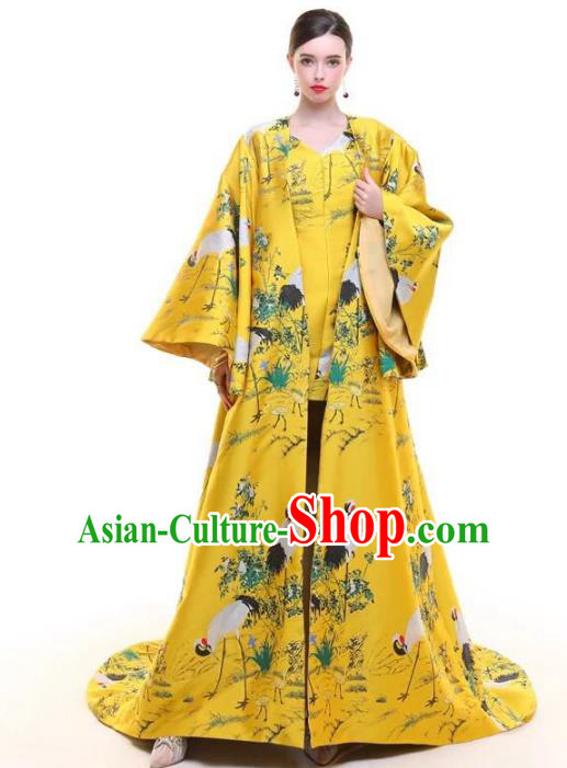 Top Grade Chinese Catwalks Costume Halloween Stage Performance Yellow Dress Brazilian Carnival Clothing for Women