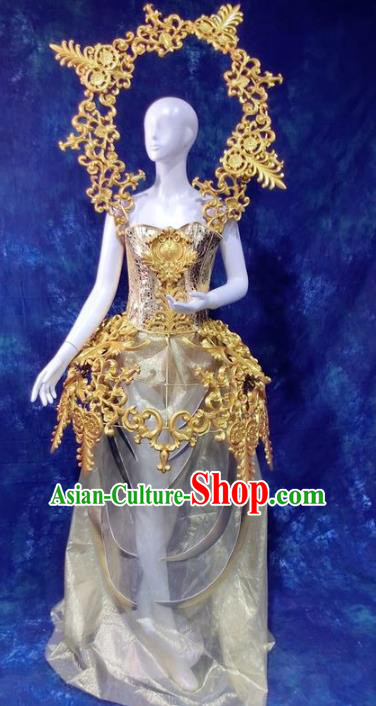 Top Grade Catwalks Golden Costume Stage Performance Model Show Brazilian Carnival Clothing for Women