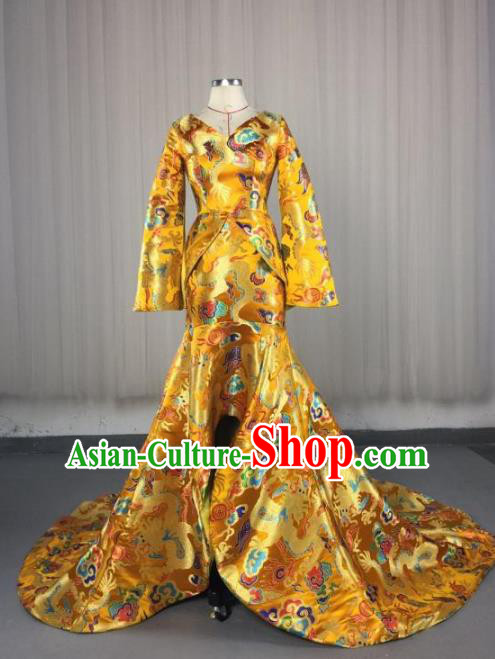 Top Grade Chinese Catwalks Costume Halloween Stage Performance Yellow Cheongsam Dress Brazilian Carnival Clothing for Women