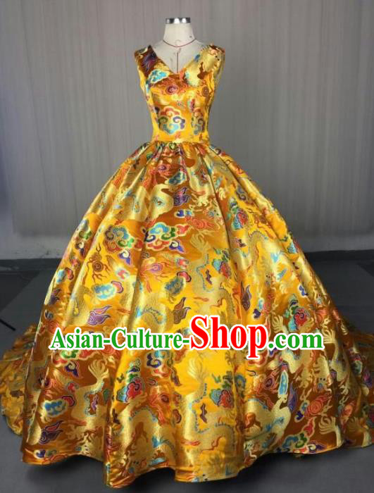 Top Grade Chinese Catwalks Costume Halloween Stage Performance Yellow Dragon Dress Brazilian Carnival Clothing for Women