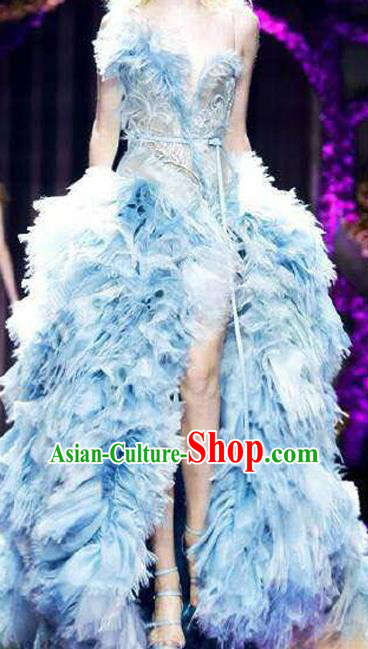 Top Grade Chinese Catwalks Costume Halloween Stage Performance Blue Dress Brazilian Carnival Clothing for Women