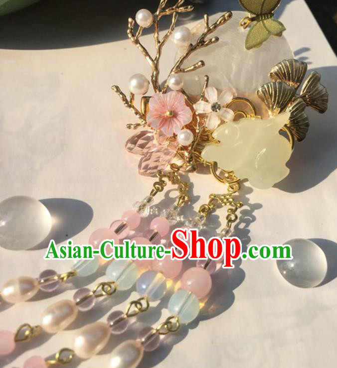 Chinese Traditional Hair Accessories Ancient Hanfu Hairpins Jade Rabbit Hair Claw for Women
