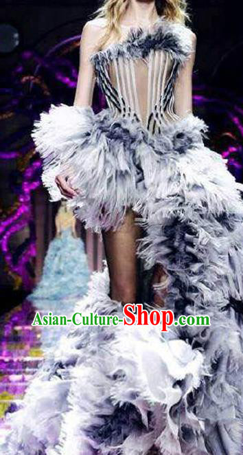 Top Grade Chinese Catwalks Costume Halloween Stage Performance Grey Dress Brazilian Carnival Clothing for Women