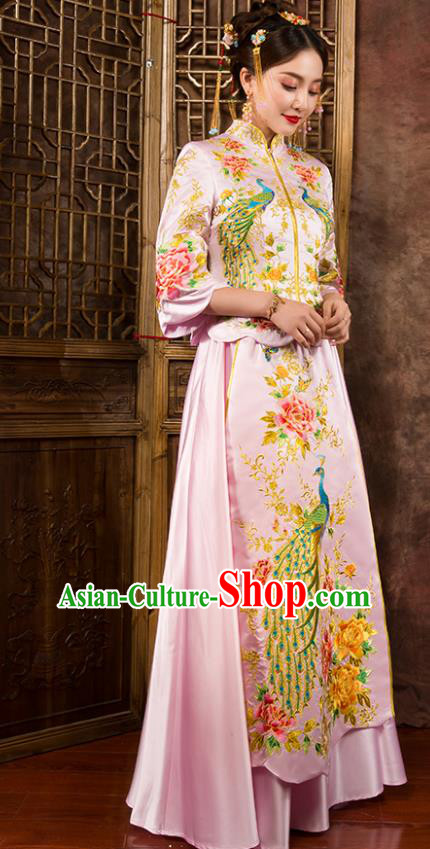 Chinese Traditional Wedding Dress Ancient Bride Pink Xiuhe Suit for Women