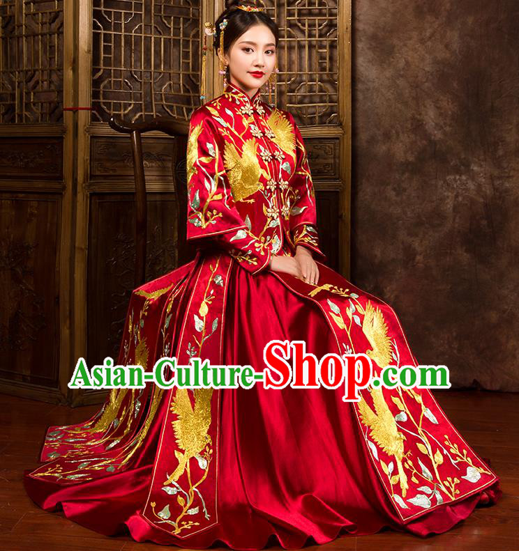 Traditional Chinese Bridal Costumes Ancient Bride Wedding Embroidered Birds XiuHe Suit for Women