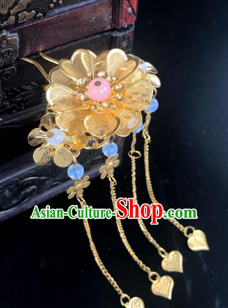 Chinese Traditional Hair Accessories Golden Flower Hair Clip Ancient Hanfu Tassel Hairpins for Women