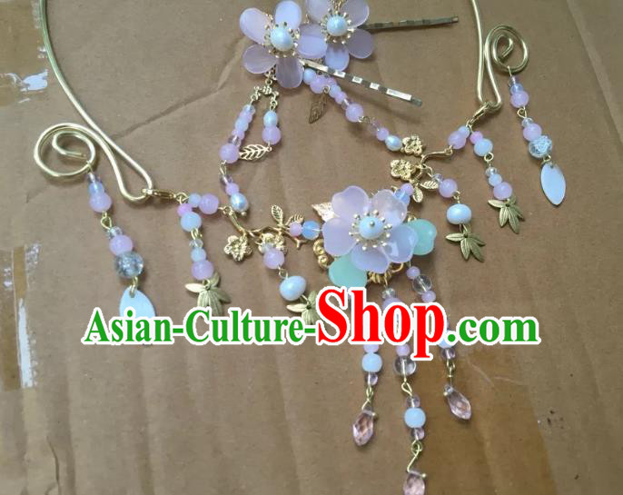 Handmade Chinese Traditional Accessories Hanfu Cherry Blossom Tassel Necklace for Women