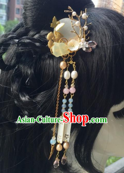 Chinese Traditional Hair Accessories Shell Hair Clip Ancient Hanfu Tassel Hairpins for Women