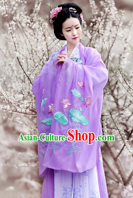 Traditional Chinese Tang Dynasty Imperial Consort Hanfu Dress Ancient Peri Embroidered Lotus Costumes and Headpiece for Women