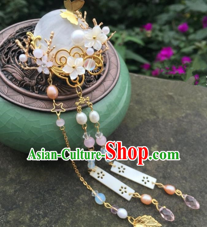 Chinese Traditional Hair Accessories Shell Hair Claw Ancient Hanfu Tassel Hairpins for Women