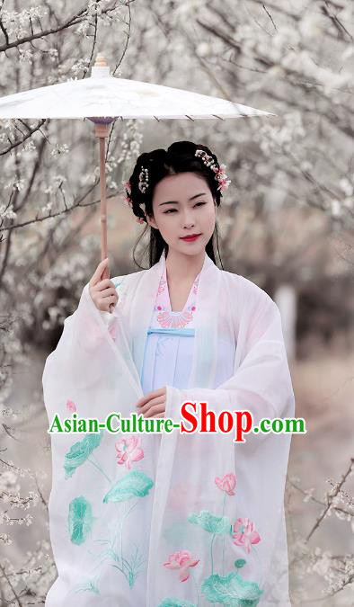 Ancient Chinese Tang Dynasty Princess Hanfu Dress Embroidered Lotus Cloak and Inside Clothing Plus Accessories for Women