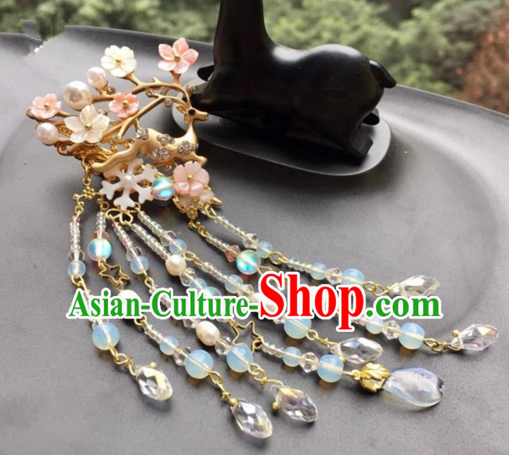 Chinese Traditional Hair Accessories Beer Tassel Hair Clip Ancient Hanfu Hairpins for Women
