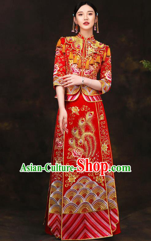 Traditional Chinese Style Female Wedding Costumes Ancient Embroidered Full Dress Red XiuHe Suit for Bride