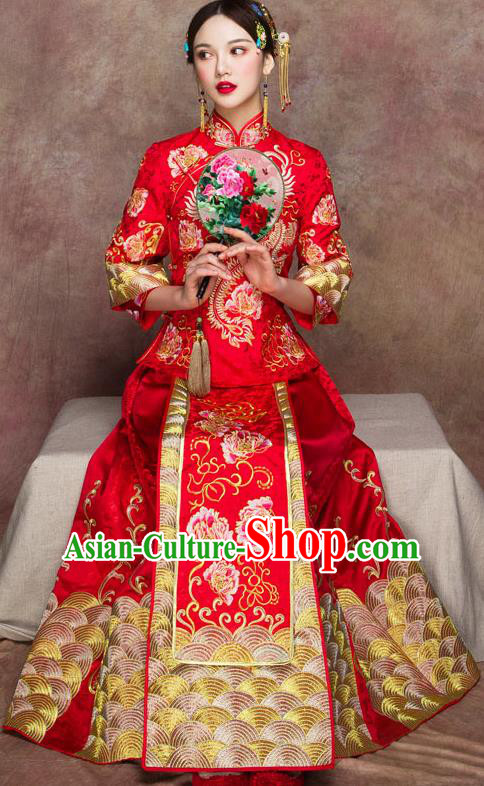 Traditional Chinese Wedding Costumes Embroidered Peony Full Dress Red XiuHe Suit Ancient Bottom Drawer for Bride