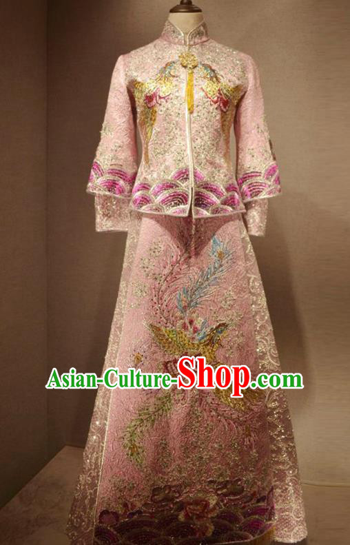 Traditional Chinese Style Female Wedding Costumes Ancient Embroidered Phoenix Bottom Drawer Pink XiuHe Suit for Bride