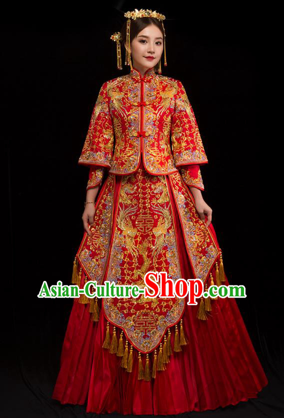 Traditional Chinese XiuHe Suit Wedding Costumes Embroidered Diamante Dragon Phoenix Full Dress Ancient Bottom Drawer for Bride