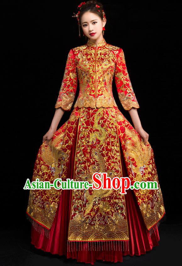 Traditional Chinese Embroidered Dragon Phoenix Diamante Red XiuHe Suit Wedding Costumes Full Dress Ancient Bottom Drawer for Bride