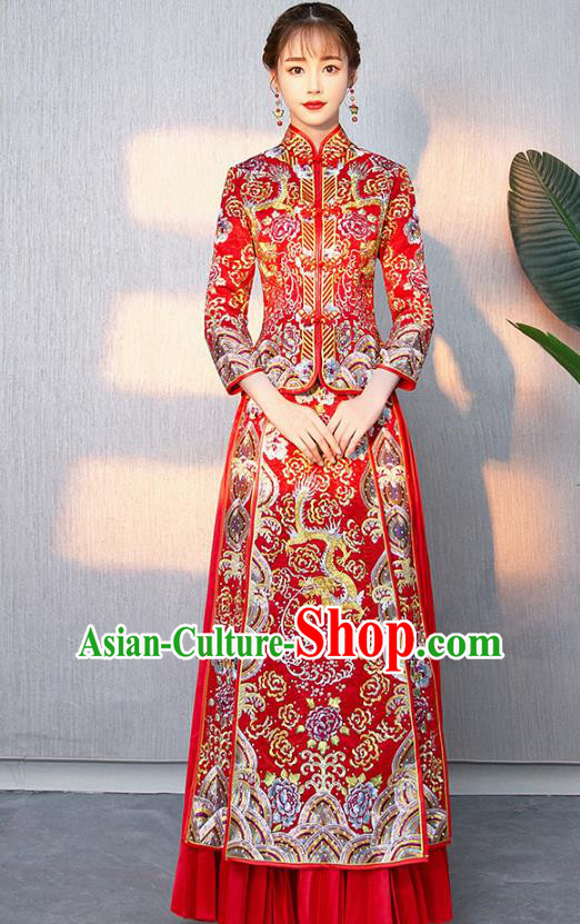 Traditional Chinese Ancient Bottom Drawer Wedding Costumes Embroidered Dragon Red XiuHe Suit for Women