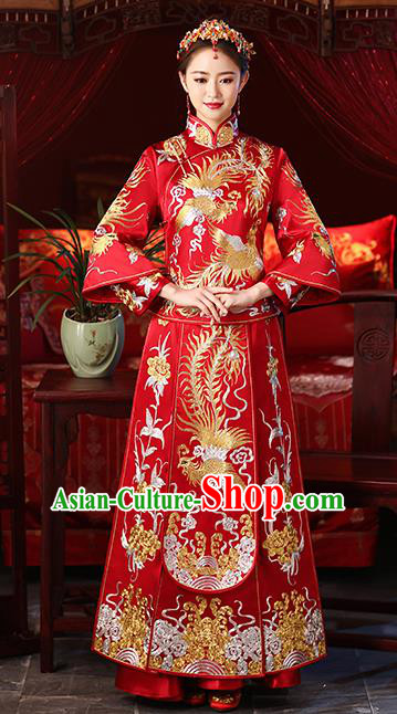 Chinese Ancient Embroidered Phoenix Wedding Costumes Bride Red Formal Dresses XiuHe Suit for Women