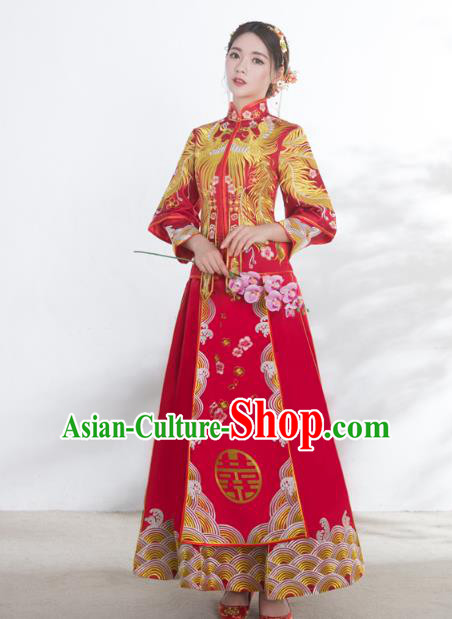 Chinese Ancient Wedding Costumes Bride Formal Dresses Embroidered Phoenix Red XiuHe Suit for Women
