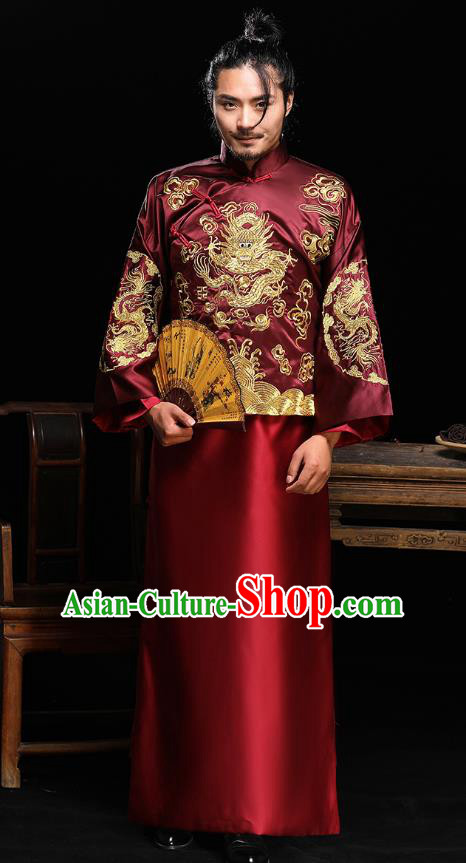 Traditional Ancient Chinese Wedding Wine Red Costumes Bridegroom Embroidered Dragon Tang Suit for Men
