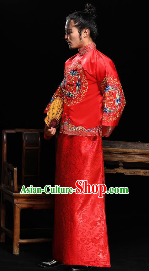 Ancient Chinese Wedding Red Costumes Traditional Bridegroom Embroidered Tang Suit for Men